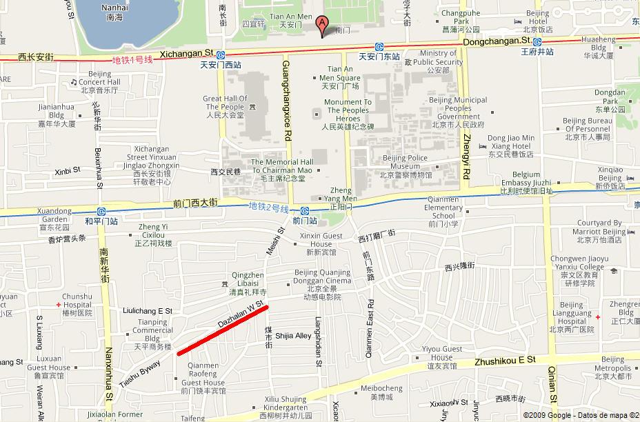 Calle Dazhalan, al sur de Tian An Men