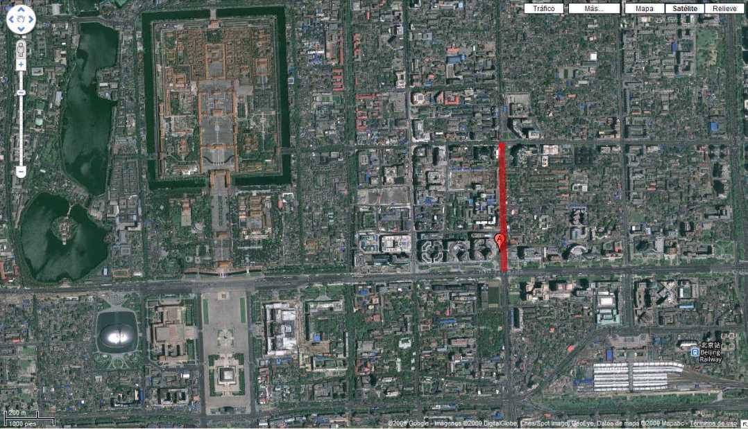 Calle Wuangfujing. Fuente: Google Maps